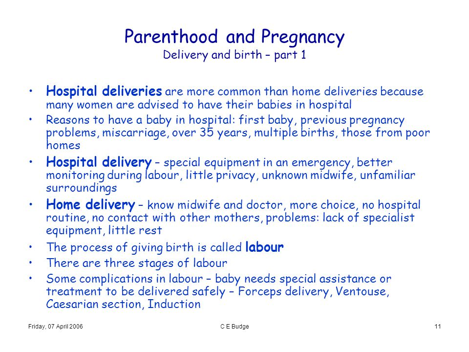 Friday, 07 April 2006C E Budge11 Parenthood and Pregnancy Delivery and birth – part 1 Hospital deliveries are more common than home deliveries because