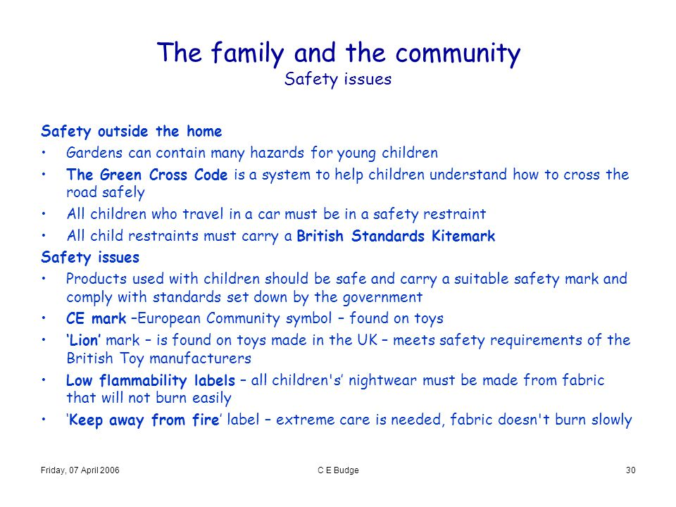 Friday, 07 April 2006C E Budge30 The family and the community Safety issues Safety outside the home Gardens can contain many hazards for young childre