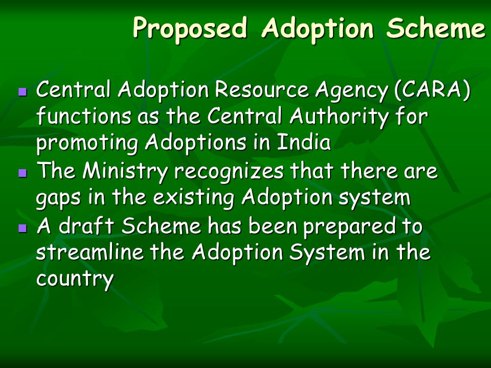 Proposed Adoption Scheme Central Adoption Resource Agency (CARA) functions as the Central Authority for promoting Adoptions in India Central Adoption Resource Agency (CARA) functions as the Central Authority for promoting Adoptions in India The Ministry recognizes that there are gaps in the existing Adoption system The Ministry recognizes that there are gaps in the existing Adoption system A draft Scheme has been prepared to streamline the Adoption System in the country A draft Scheme has been prepared to streamline the Adoption System in the country