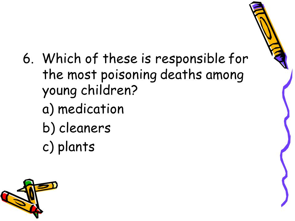 6. Which of these is responsible for the most poisoning deaths among young children.
