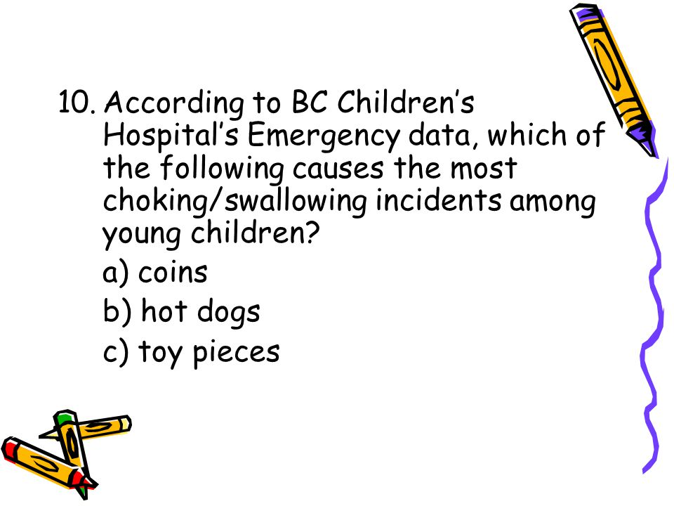 10.According to BC Children's Hospital's Emergency data, which of the following causes the most choking/swallowing incidents among young children.