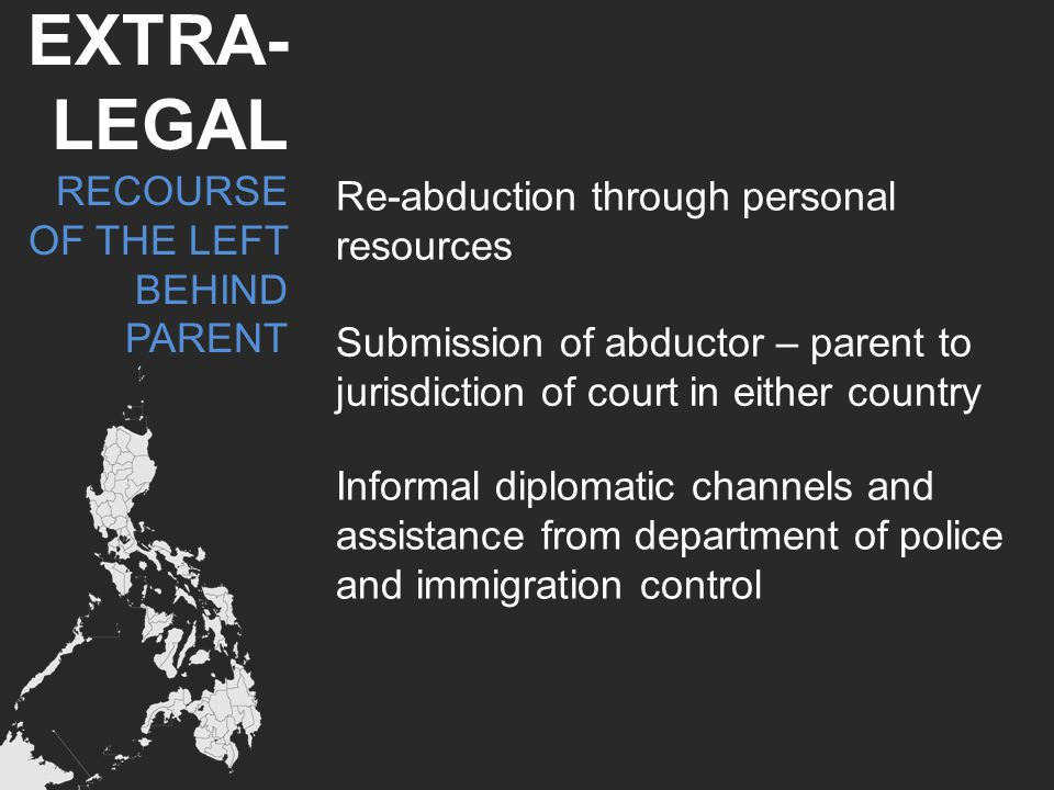 Should the Philippines sign- There will be need to enact legislation; and Reconceptualizing abduction as going beyond the question of custody.