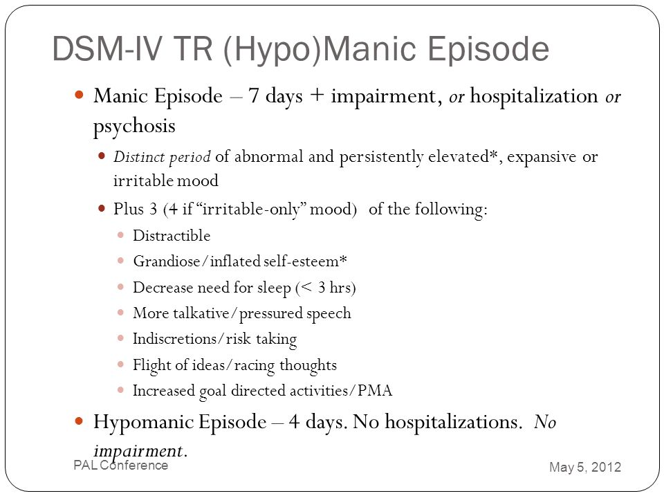 DSM-IV TR (Hypo)Manic Episode Manic Episode – 7 days + impairment, or hospitalization or psychosis Distinct period of abnormal and persistently elevat