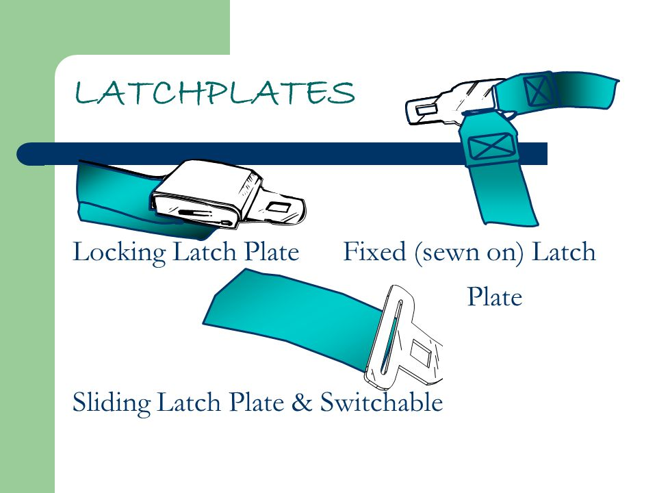 LATCHPLATES Locking Latch Plate Fixed (sewn on) Latch Plate Sliding Latch Plate & Switchable