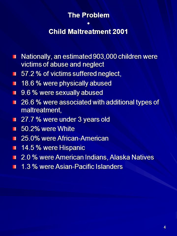 4 The Problem Child Maltreatment 2001 Nationally, an estimated 903,000 children were victims of abuse and neglect 57.2 % of victims suffered neglect,