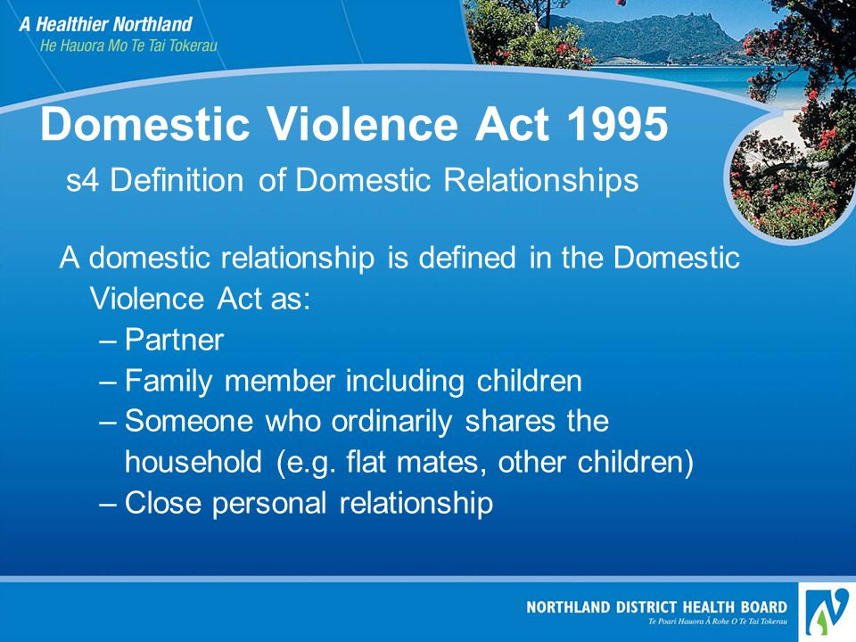Domestic Violence Act 1995 s4 Definition of Domestic Relationships A domestic relationship is defined in the Domestic Violence Act as: –Partner –Family member including children –Someone who ordinarily shares the household (e.g.
