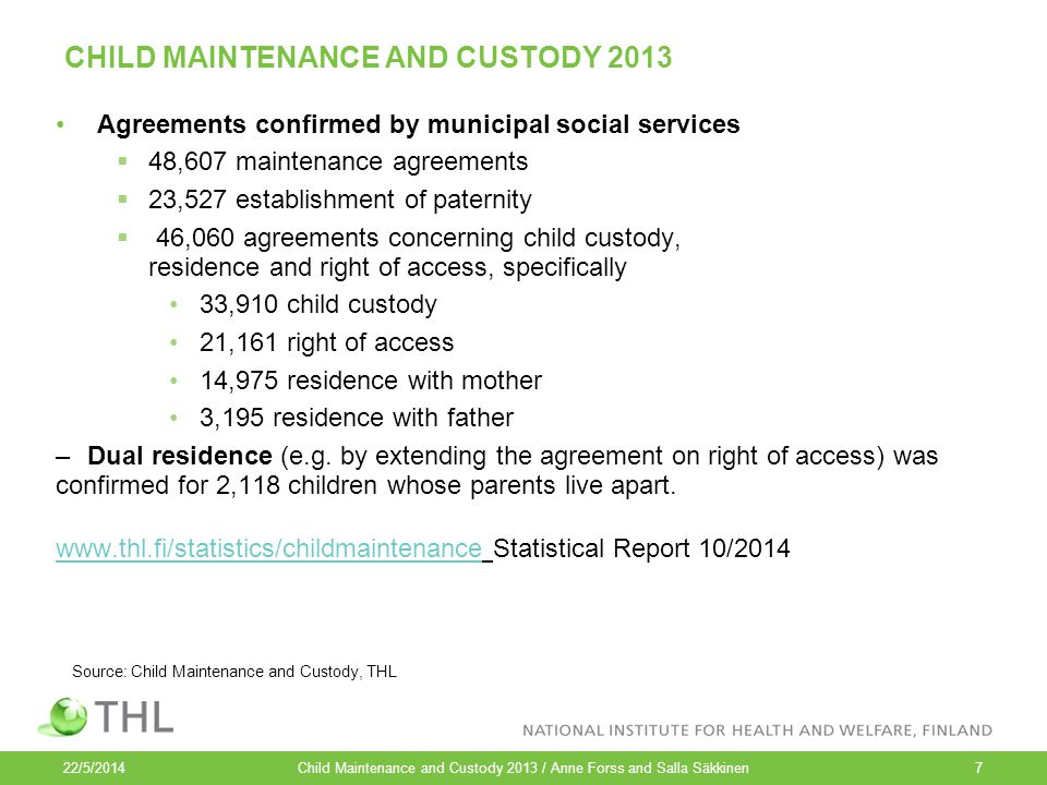 CHILD MAINTENANCE AND CUSTODY 2013 Agreements confirmed by municipal social services  48,607 maintenance agreements  23,527 establishment of paternity  46,060 agreements concerning child custody, residence and right of access, specifically 33,910 child custody 21,161 right of access 14,975 residence with mother 3,195 residence with father –Dual residence (e.g.