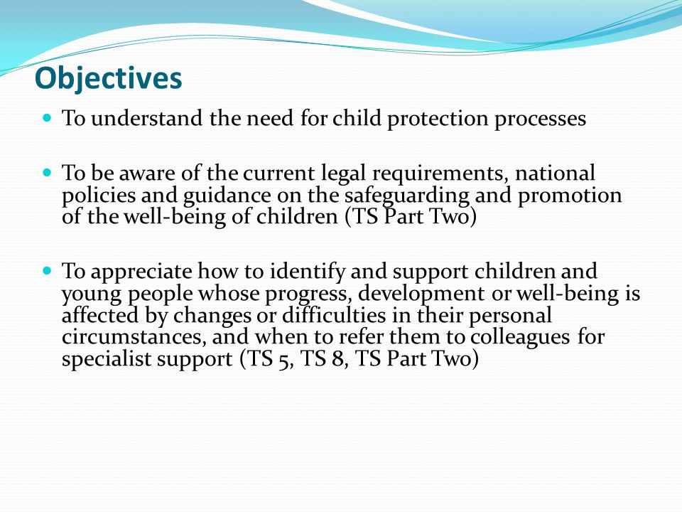 Objectives To understand the need for child protection processes To be aware of the current legal requirements, national policies and guidance on the
