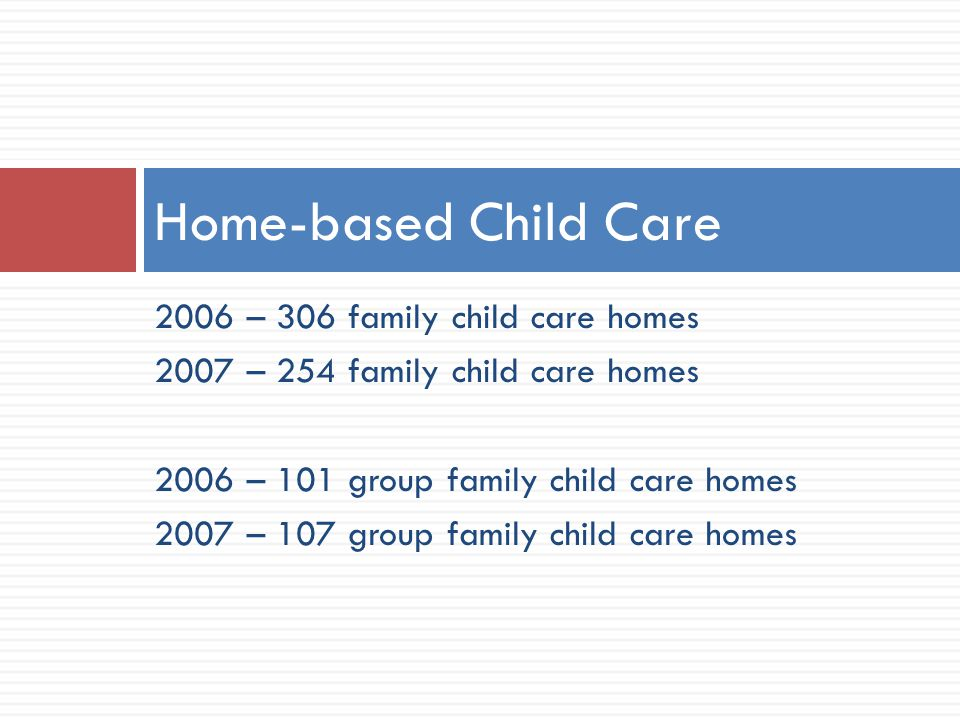 2006 – 306 family child care homes 2007 – 254 family child care homes 2006 – 101 group family child care homes 2007 – 107 group family child care homes Home-based Child Care