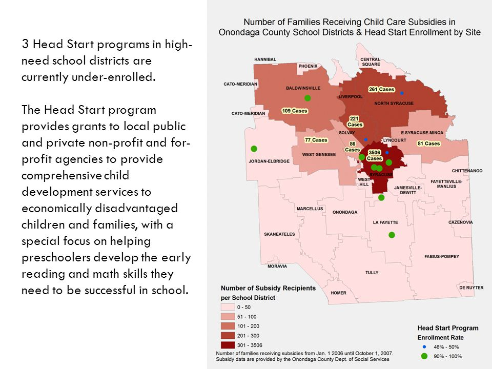 3 Head Start programs in high- need school districts are currently under-enrolled.