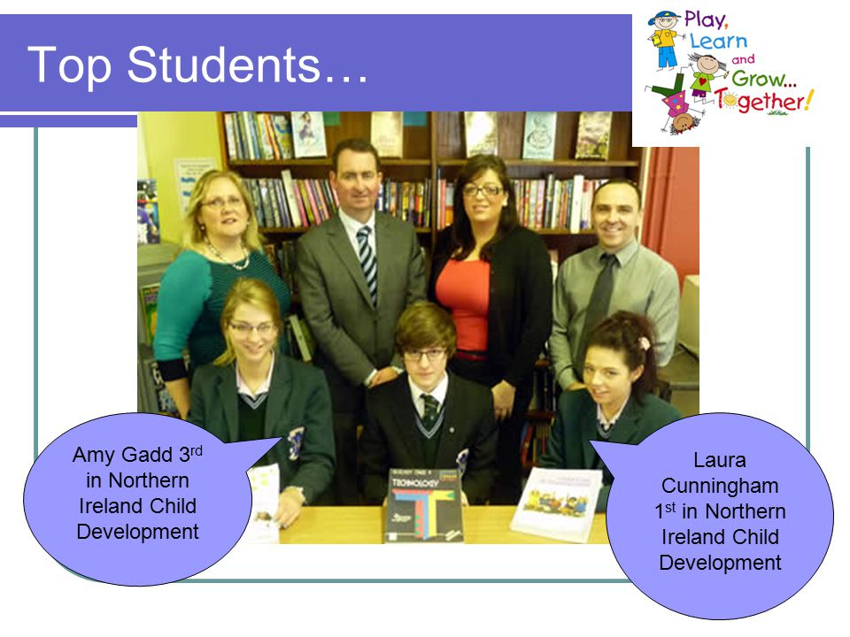 Top Students… Laura Cunningham 1 st in Northern Ireland Child Development Amy Gadd 3 rd in Northern Ireland Child Development