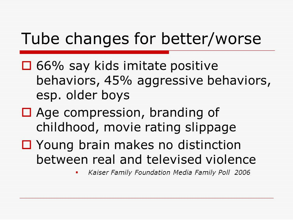 Tube changes for better/worse  66% say kids imitate positive behaviors, 45% aggressive behaviors, esp.