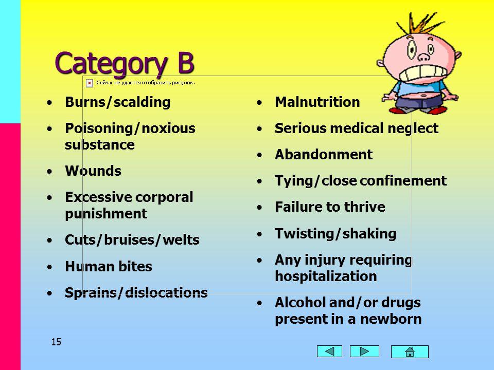 14 Category A Death Brain damage Bone fracture Subdural hematoma Internal injuries Torture STDs Sexual fondling, intercourse, or exploitation Third de