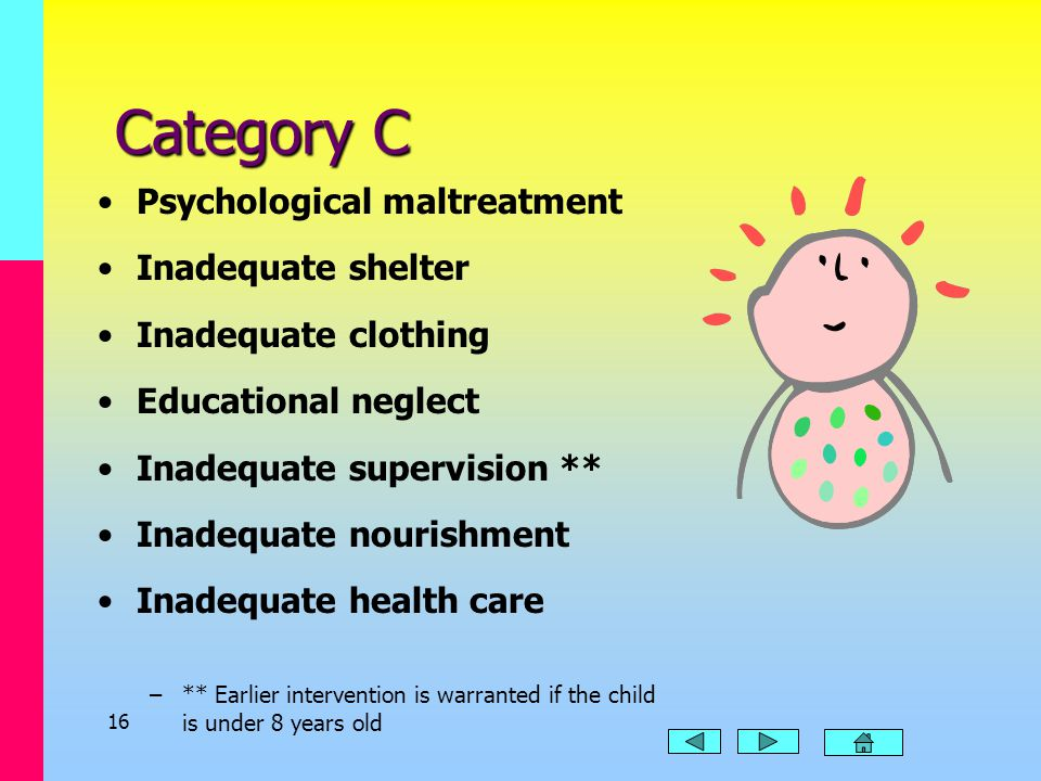 15 Category B Burns/scalding Poisoning/noxious substance Wounds Excessive corporal punishment Cuts/bruises/welts Human bites Sprains/dislocations Maln