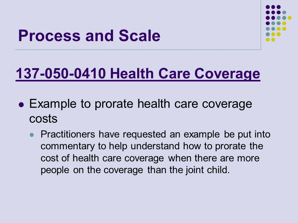 137-050-0410 Health Care Coverage Example to prorate health care coverage costs Practitioners have requested an example be put into commentary to help understand how to prorate the cost of health care coverage when there are more people on the coverage than the joint child.