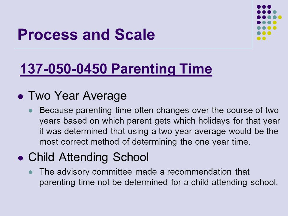 Process and Scale Two Year Average Because parenting time often changes over the course of two years based on which parent gets which holidays for that year it was determined that using a two year average would be the most correct method of determining the one year time.