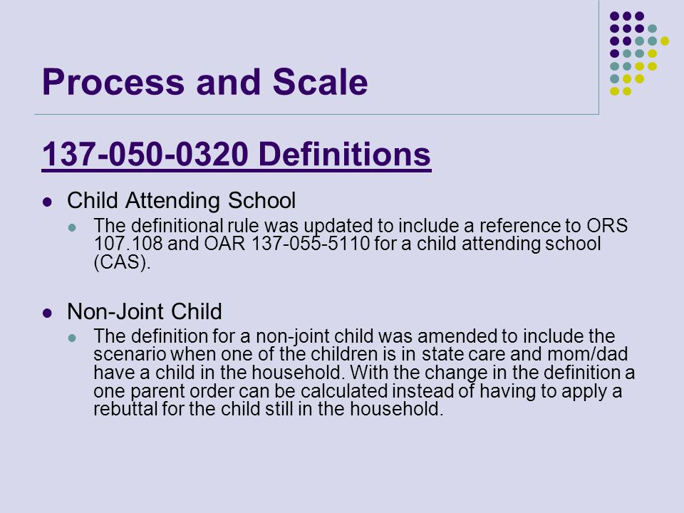 137-050-0320 Definitions Child Attending School The definitional rule was updated to include a reference to ORS 107.108 and OAR 137-055-5110 for a child attending school (CAS).
