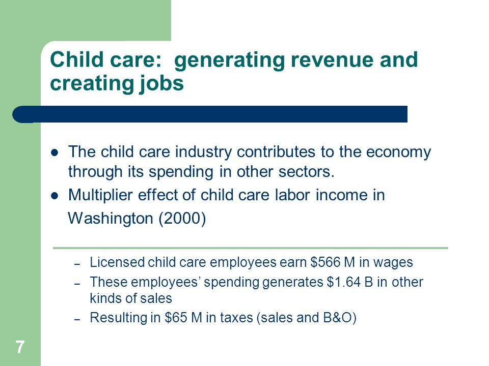 8 Child care: generating revenue and creating jobs 2003 State of Washington invested $50M in child care Yielding a federal government match of $350M State child care investments brought $7 to Washington for every $1 invested