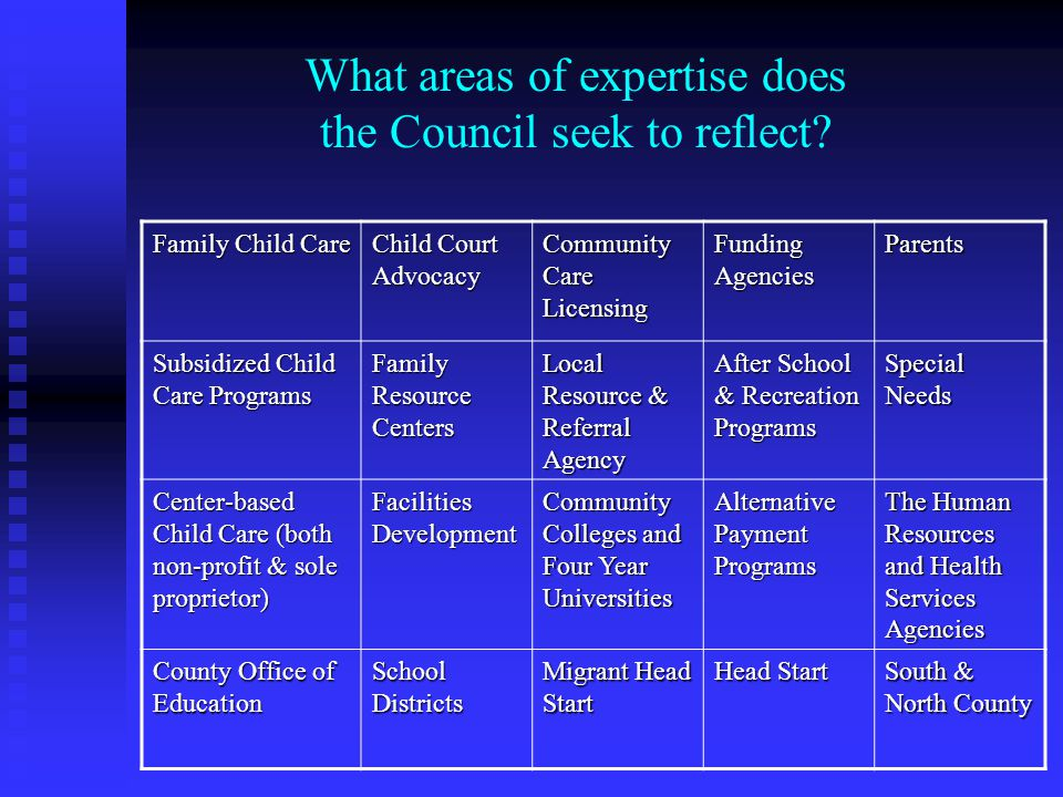 What areas of expertise does the Council seek to reflect? Family Child Care Child Court Advocacy Community Care Licensing Funding Agencies Parents Sub
