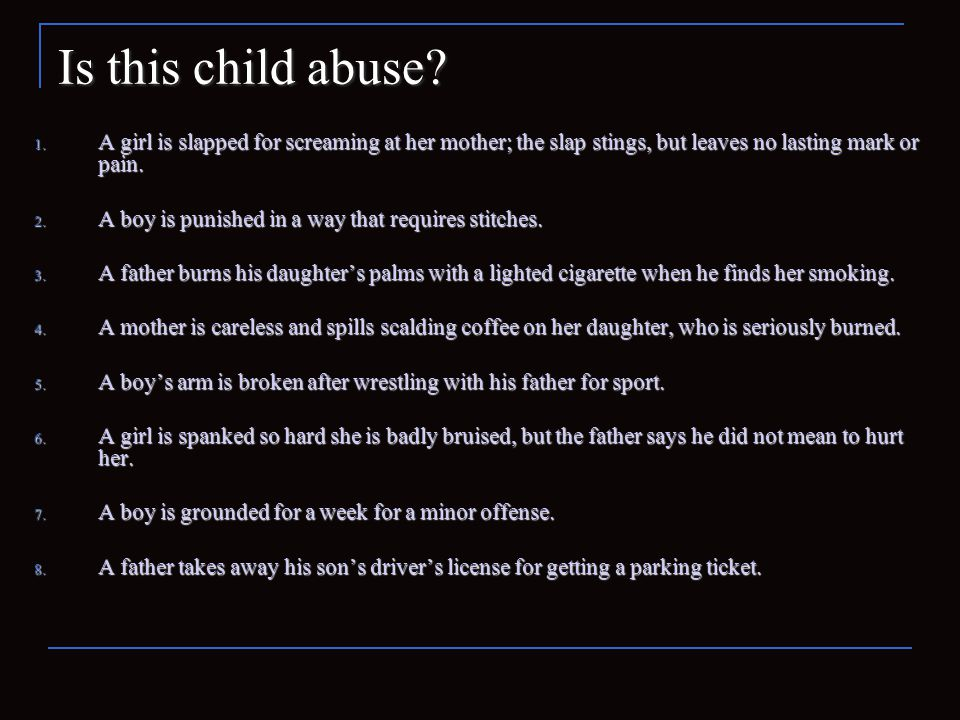 Discussion Is there a difference between child abuse and discipline.