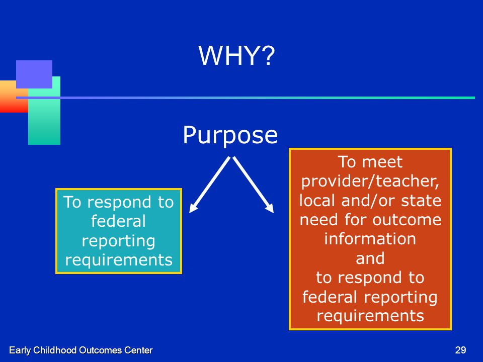 Early Childhood Outcomes Center29 To respond to federal reporting requirements To meet provider/teacher, local and/or state need for outcome information and to respond to federal reporting requirements Purpose WHY?