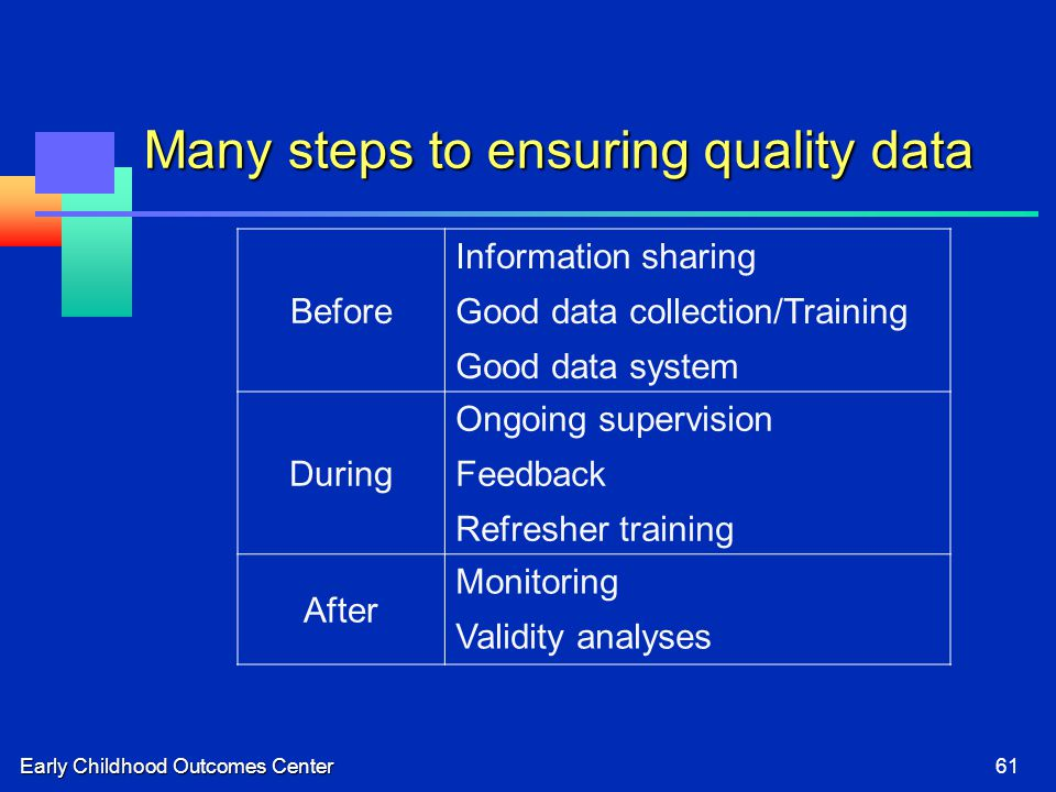 Early Childhood Outcomes Center61 Many steps to ensuring quality data Before Information sharing Good data collection/Training Good data system During