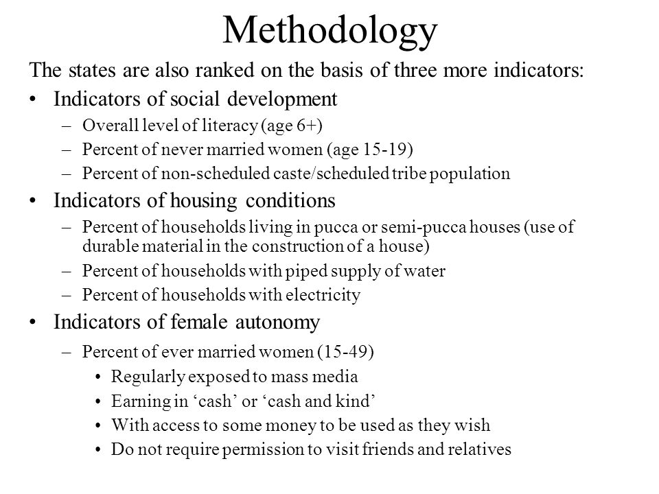 Methodology The states are also ranked on the basis of three more indicators: Indicators of social development –Overall level of literacy (age 6+) –Percent of never married women (age 15-19) –Percent of non-scheduled caste/scheduled tribe population Indicators of housing conditions –Percent of households living in pucca or semi-pucca houses (use of durable material in the construction of a house) –Percent of households with piped supply of water –Percent of households with electricity Indicators of female autonomy –Percent of ever married women (15-49) Regularly exposed to mass media Earning in 'cash' or 'cash and kind' With access to some money to be used as they wish Do not require permission to visit friends and relatives