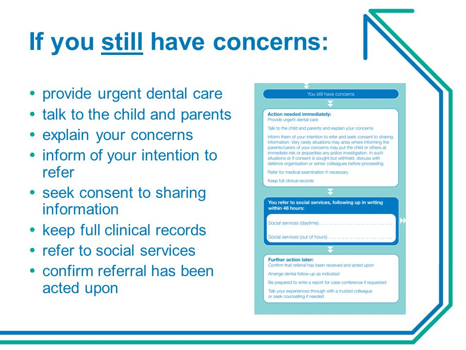 If you still have concerns:  provide urgent dental care  talk to the child and parents  explain your concerns  inform of your intention to refer 