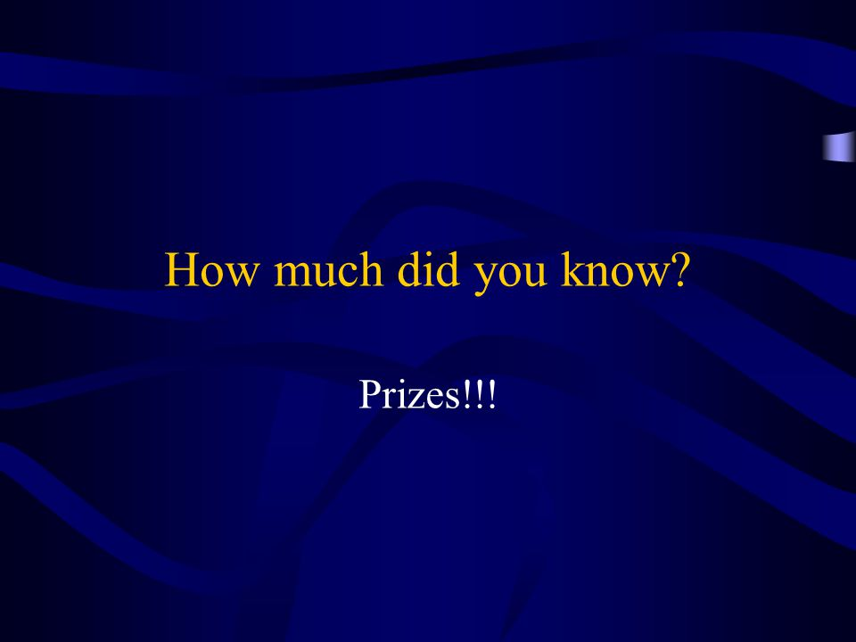 How much did you know Prizes!!!