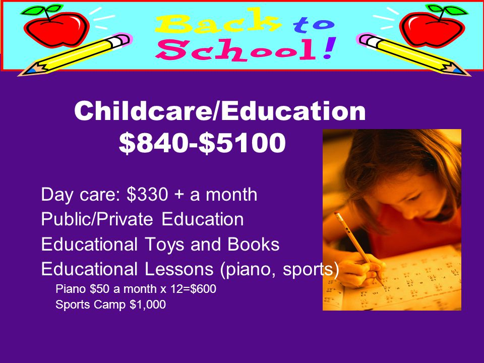 Childcare/Education $840-$5100 Day care: $330 + a month Public/Private Education Educational Toys and Books Educational Lessons (piano, sports) Piano $50 a month x 12=$600 Sports Camp $1,000