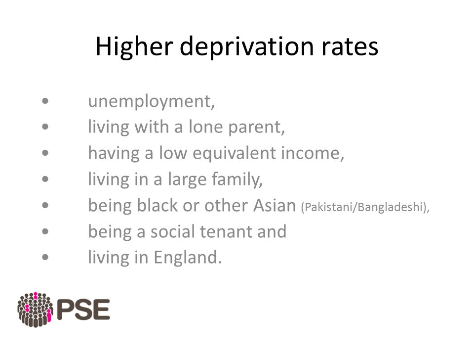 Higher deprivation rates unemployment, living with a lone parent, having a low equivalent income, living in a large family, being black or other Asian (Pakistani/Bangladeshi), being a social tenant and living in England.