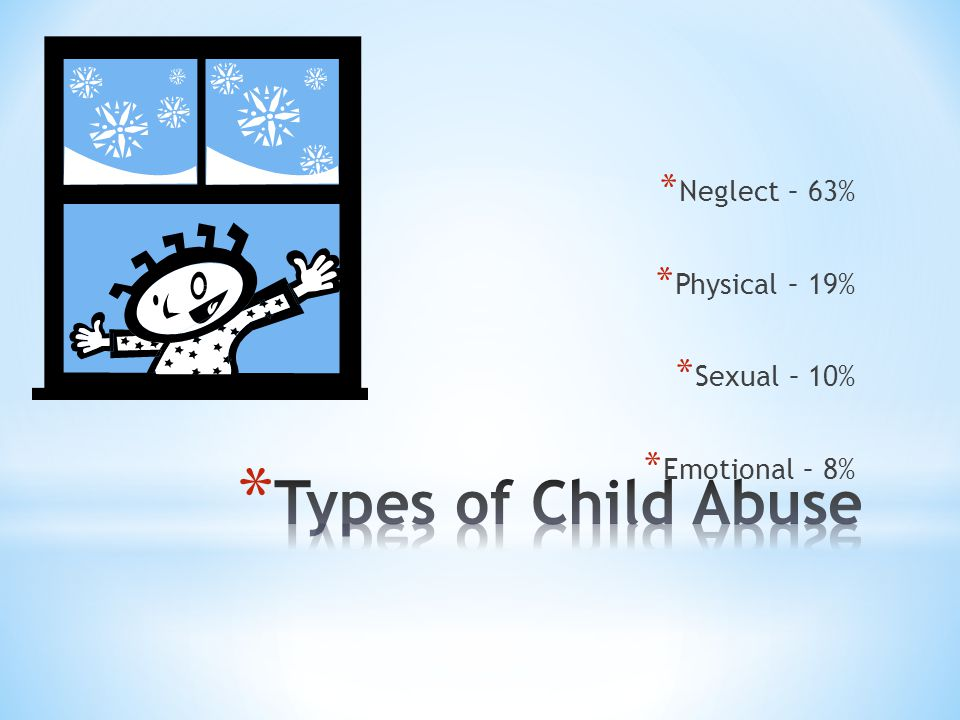 * Approximately 3 million reports of possible maltreatment are made to child protective service agencies each year.