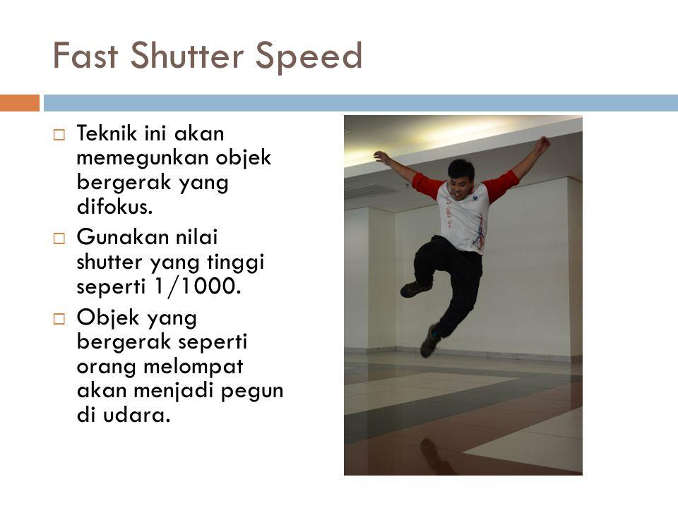 Fast Shutter Speed  Teknik ini akan memegunkan objek bergerak yang difokus.  Gunakan nilai shutter yang tinggi seperti 1/1000.  Objek yang bergerak