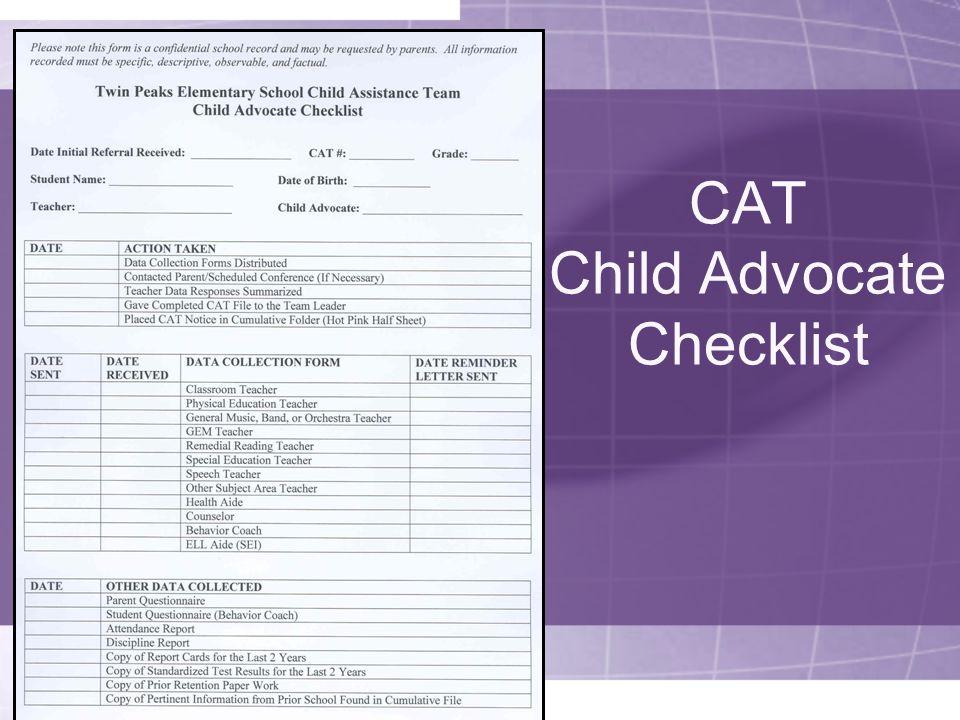 CAT Child Advocate Checklist