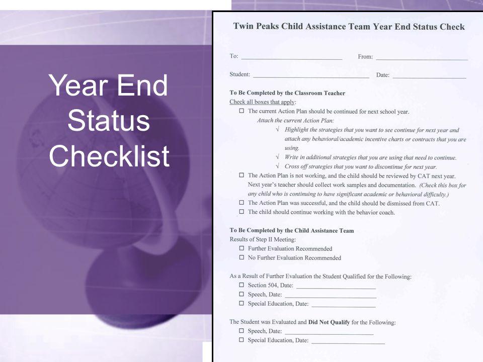 Year End Status Checklist