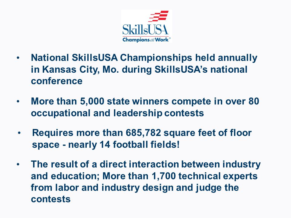 National SkillsUSA Championships held annually in Kansas City, Mo.