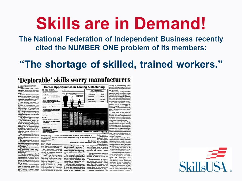 The National Federation of Independent Business recently cited the NUMBER ONE problem of its members: The shortage of skilled, trained workers. Skills are in Demand!