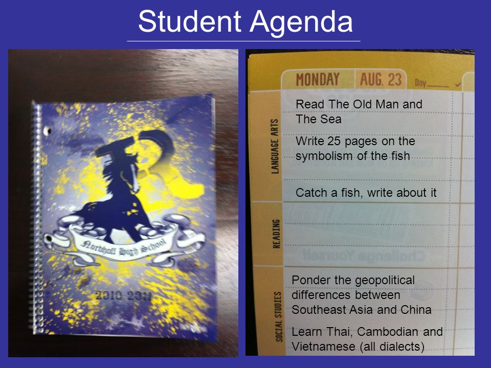 Student Agenda Read The Old Man and The Sea Write 25 pages on the symbolism of the fish Catch a fish, write about it Ponder the geopolitical differenc