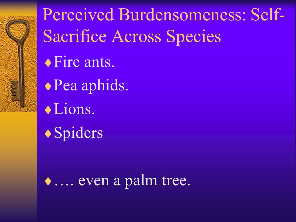 Perceived Burdensomeness: Self- Sacrifice Across Species  Fire ants.  Pea aphids.  Lions.  Spiders  …. even a palm tree.