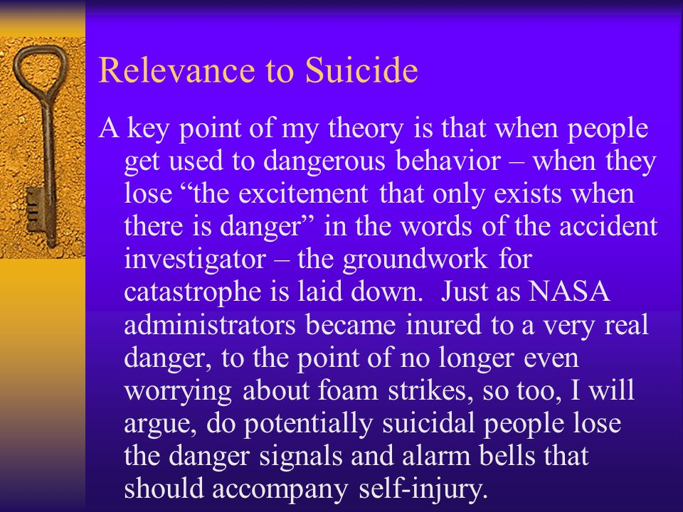 "Relevance to Suicide A key point of my theory is that when people get used to dangerous behavior – when they lose ""the excitement that only exists whe"
