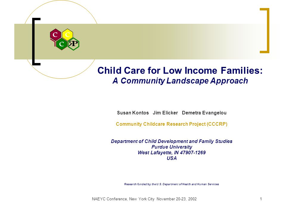 NAEYC Conference, New York City November 20-23, 20021 Child Care for Low Income Families: A Community Landscape Approach Susan Kontos Jim Elicker Demetra Evangelou Community Childcare Research Project (CCCRP) Department of Child Development and Family Studies Purdue University West Lafayette, IN 47907-1269 USA Research funded by the U.S.
