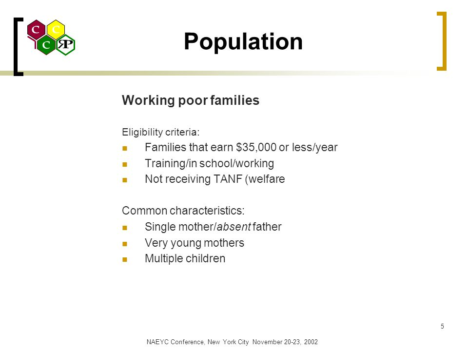 NAEYC Conference, New York City November 20-23, 2002 5 Population Working poor families Eligibility criteria: Families that earn $35,000 or less/year Training/in school/working Not receiving TANF (welfare Common characteristics: Single mother/absent father Very young mothers Multiple children
