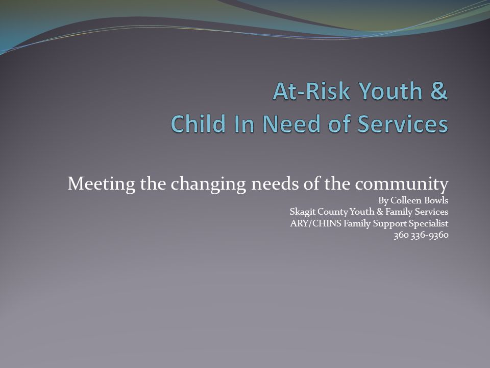 Meeting the changing needs of the community By Colleen Bowls Skagit County Youth & Family Services ARY/CHINS Family Support Specialist 360 336-9360