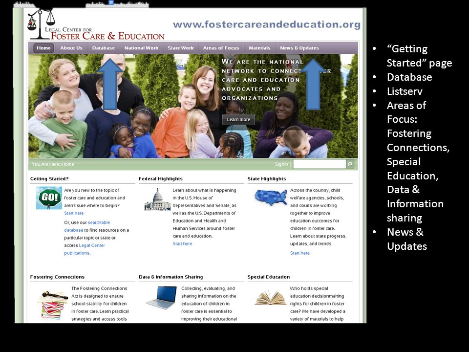 Getting Started page Database Listserv Areas of Focus: Fostering Connections, Special Education, Data & Information sharing News & Updates