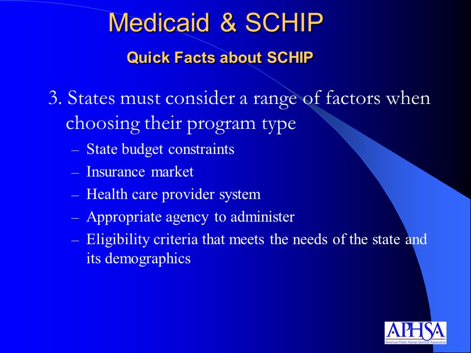 3. States must consider a range of factors when choosing their program type – State budget constraints – Insurance market – Health care provider syste