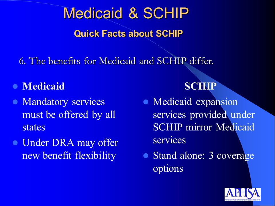 Medicaid & SCHIP Quick Facts about SCHIP Medicaid Mandatory services must be offered by all states Under DRA may offer new benefit flexibility SCHIP Medicaid expansion services provided under SCHIP mirror Medicaid services Stand alone: 3 coverage options 6.