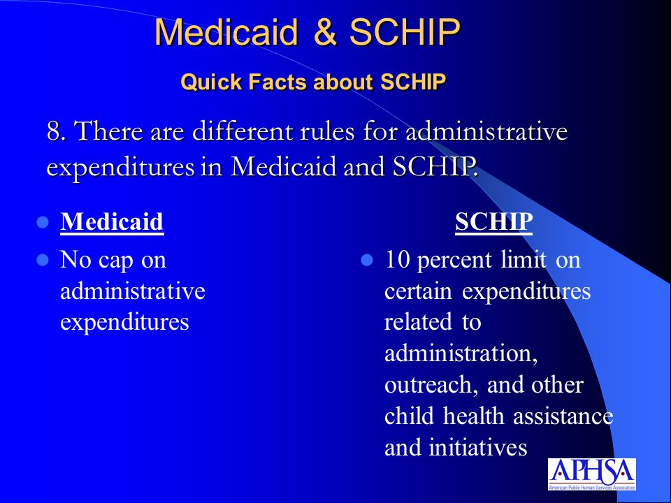 Medicaid & SCHIP Quick Facts about SCHIP Medicaid No cap on administrative expenditures SCHIP 10 percent limit on certain expenditures related to administration, outreach, and other child health assistance and initiatives 8.