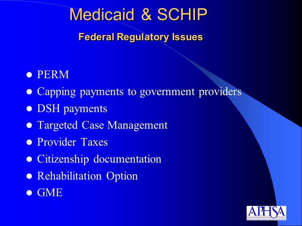Medicaid & SCHIP Federal Regulatory Issues PERM Capping payments to government providers DSH payments Targeted Case Management Provider Taxes Citizenship documentation Rehabilitation Option GME