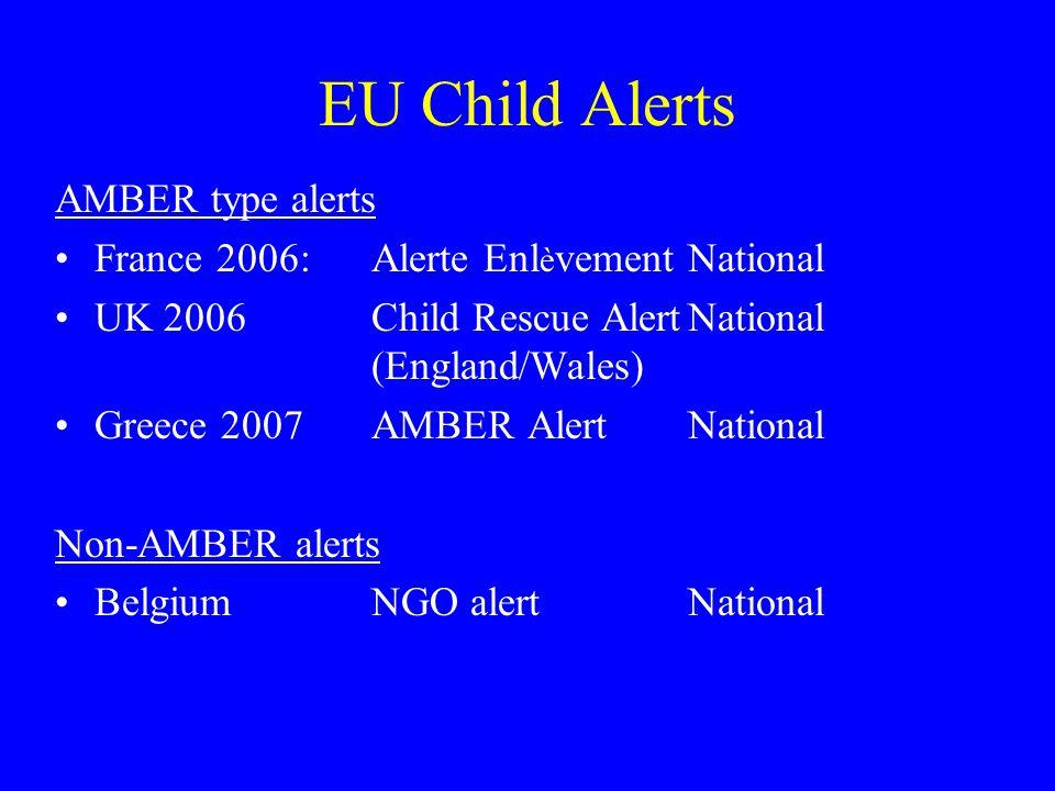 EU Child Alerts AMBER type alerts France 2006:Alerte Enl è vementNational UK 2006Child Rescue AlertNational (England/Wales) Greece 2007AMBER AlertNational Non-AMBER alerts BelgiumNGO alert National