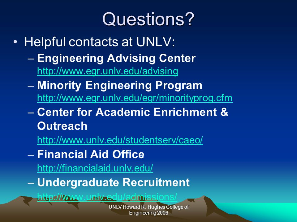 UNLV Howard R. Hughes College of Engineering 2006Questions.